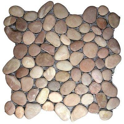 "Berry Pebble Tile 12"" x 12"" - River Rock Stone Tile"