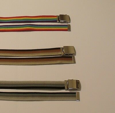 Multicolor Web Belts with Military Style Buckle 1-Size Cut to Fit