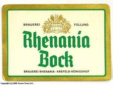 1960s Germany Rhenania Bock Bier Beer Label Tavern Trove