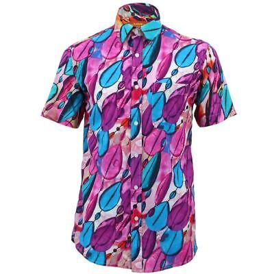 Homme haut shirt retro psychédélique funky party régulier à manches courtes floral