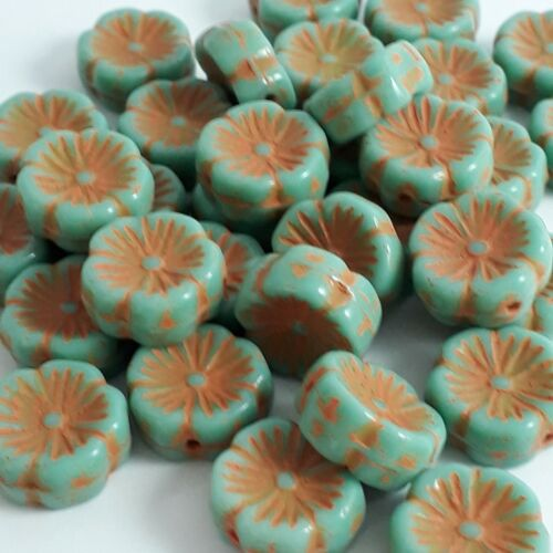 12mm GB14 6pcs Turquoise /& Orange Hawaiian Flower Czech Glass Beads