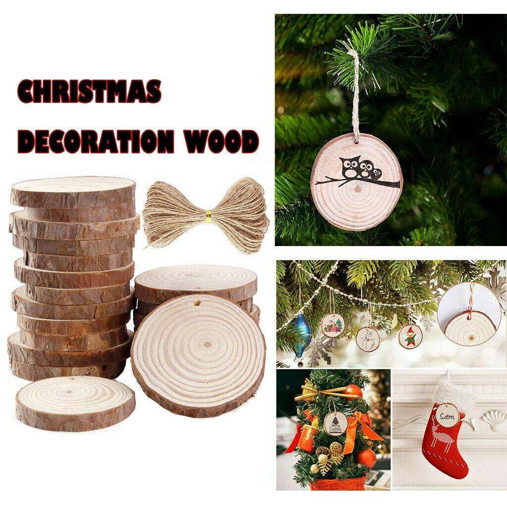 30Pcs DIY Natural Wood Slices Round Log Dis Christmas Tree Ornaments Decorations