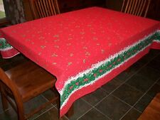 SPRINGS INDUSTRIES VINTAGE RED HOLLY BERRY HOLIDAY CHRISTMAS TABLECLOTH~70X70