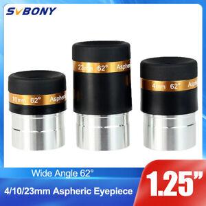 "SVBONY 1.25"" 31.7mm Wide Angle 62-Deg Eyepiece Lens4/10/23mm Fully Coated+Track"