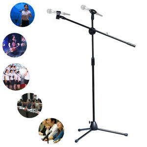 Professional-Tripod-Microphone-Mic-Stand-with-Telescopic-Boom-2XMic-Clip-Holders