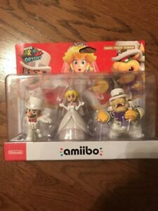 Rare-HTF-Nintendo-Switch-Mario-Odyssey-Wedding-Amiibo-Triple-3-Pack-Peach-Bowser
