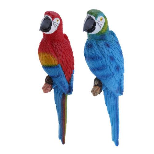 2x Realistische große Papagei lebensechte Vogel Ornament Harz Tier Modell
