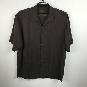 Tommy-Bahama-Shirt-Size-XL-Brown-Floral-Silk-Short-Sleeve-Hawaiian-Aloha-Mens