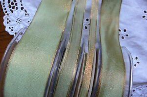 WOVEN-2Tone-Both-Sides-OLIVE-amp-ANTIQUE-GOLD-Ribbon-8-13-25-amp-38mm-May-Arts