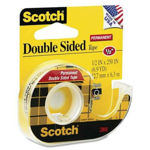 6-Pack Scotch Double Sided Tape 136 Refillable Dispenser 1//2x250 In Transparent