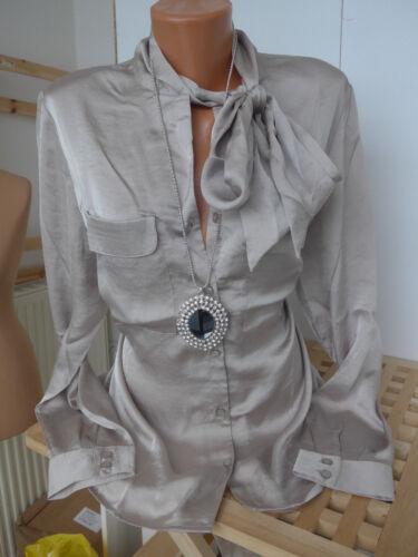 534 Heine Shirt Bluse Gr 44 Taupe mit Schluppe Vokuhila NEU