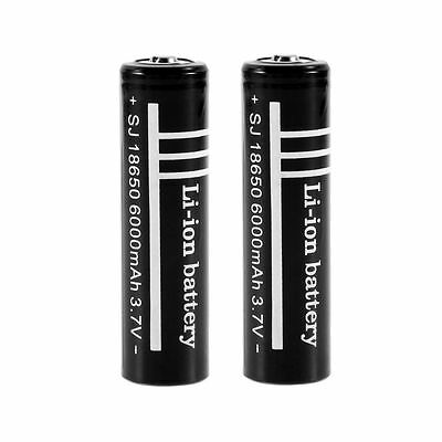 2 x 18650 Batteries 6000mAh 3.7V Rechargeable Li-ion Battery Flashlight torch F7