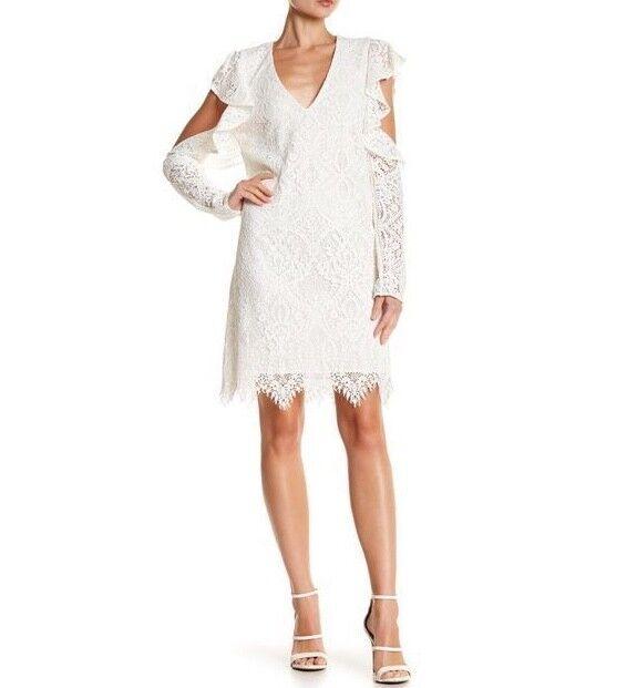 New damen's BCBG Marian Cold-Shoulder Lace Dress SZ S Weiß