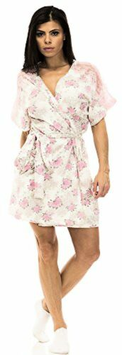 Jessica Simpson Womens Rose and Leopard Print Robe W// Lace Trim SZ:in Pink