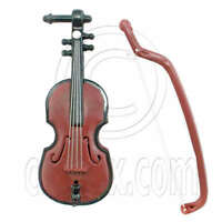 Brown Violin With Bow Music Room 1:6 Barbie Doll's House Dollhouse Miniature