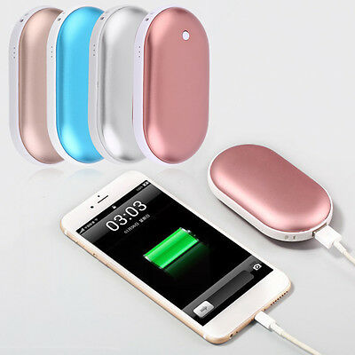 2 Sides Warm hot Hand Warmer 5000Mah Rechargeable Power Bank USB Cable Charger