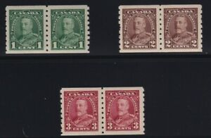 Canada-Sc-228-30-1935-King-George-V-Pictorial-COIL-PAIR-Set-Mint-VF-NH
