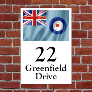Custom RAF flag house sign or sticker printed with choice of text /address 9669