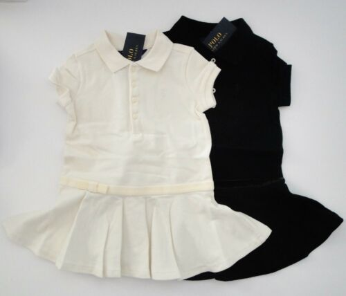 NWT Ralph Lauren Girls SS Ivory Stretch Cotton Mesh Polo Dress Sz 5 6 6x NEW $45
