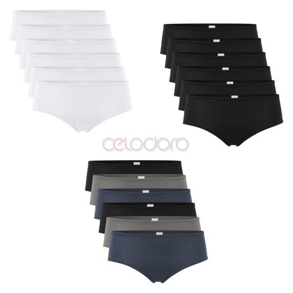 Celodoro Damen Panty Hipster (6er Pack), Unterhose aus Quick Dry-Fasern