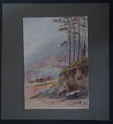 xix°/20th Signed Th Saulgeot Landscape 1910 Watercolour