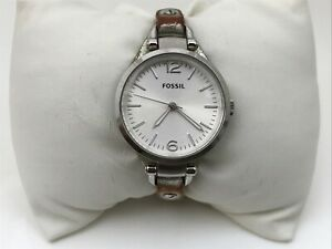 Fossil-Women-Watch-Silver-Tone-Genuine-Leather-Band-Analog-Ladies-Wrist-Watch