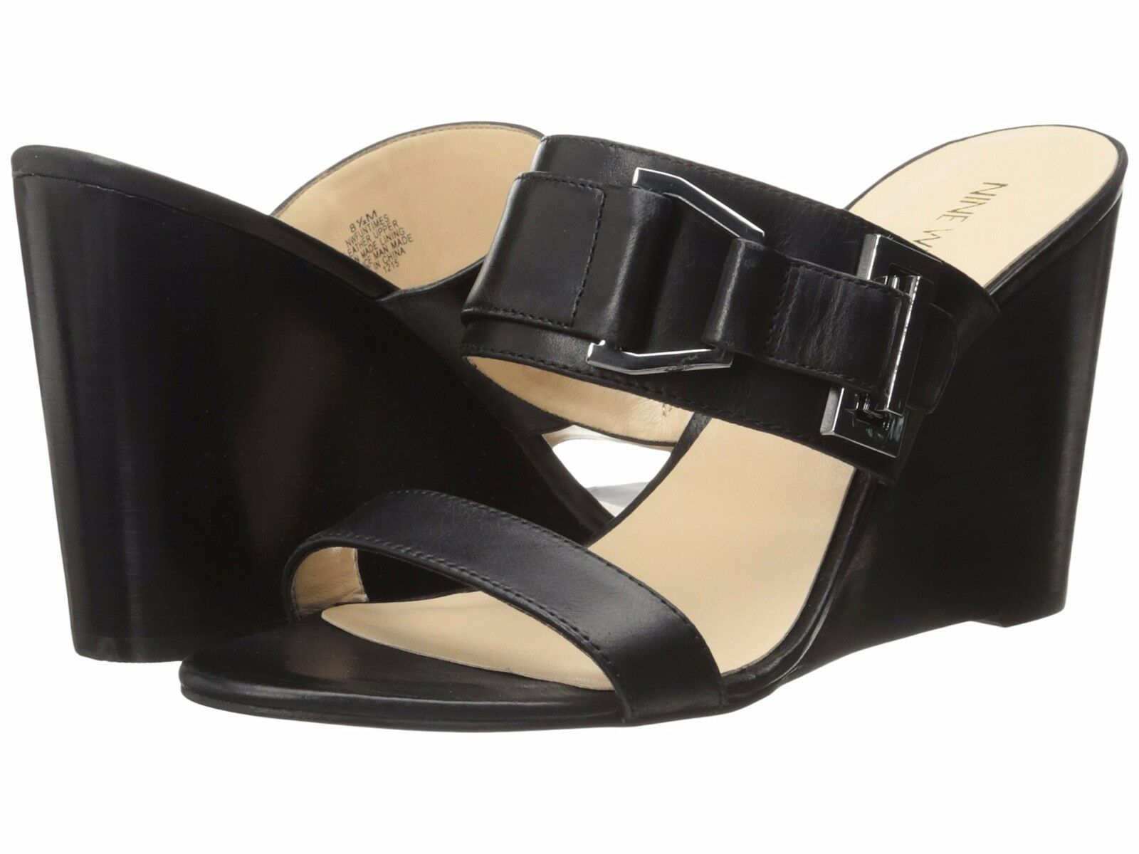 Nine West Funtimes 7.5 Black Leather Stacked Wedge Open Toe Slip-On Sandal