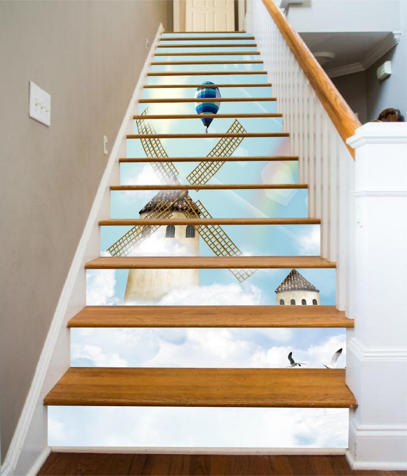 3D Windmill House Stair Risers Decoration Photo Mural Vinyl Decal Wallpaper UK
