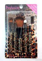 Profusion 5 Pcs Cosmetic Brush Set Kit - Eyebrow & Eye Shadow Brush Set -leopard