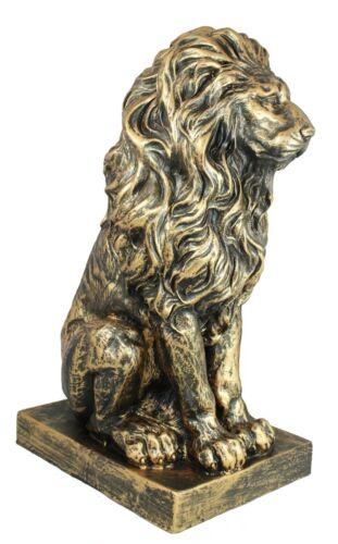 Lion Personnage assis Lion en Bronze Optique 56 cm jardin personnage lion sculpture