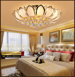 Image Is Loading Elegant Modern Led K9 Crystal Ceiling Fixture Lamps