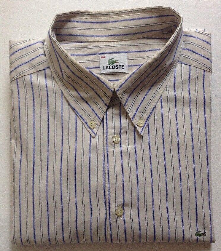 LACOSTE Camicia in cotone, crema con Bianco & Blu Righe verdeicali, Taglia 44