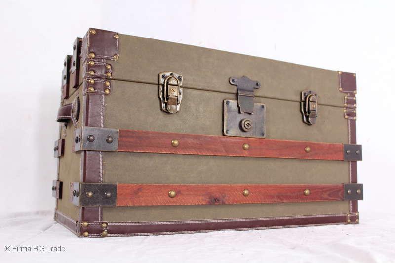 Vintage  Transportkiste Kutscherkoffer Wäschetruhe Tisch 3 Größen  M  Antik Stil