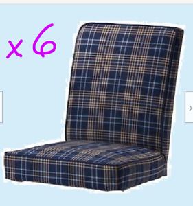 IKEA-Henriksdal-Chair-Covers-QUANTITY-SIX-Rutna-Multi-Blue-Plaid-NEW-6-Dining