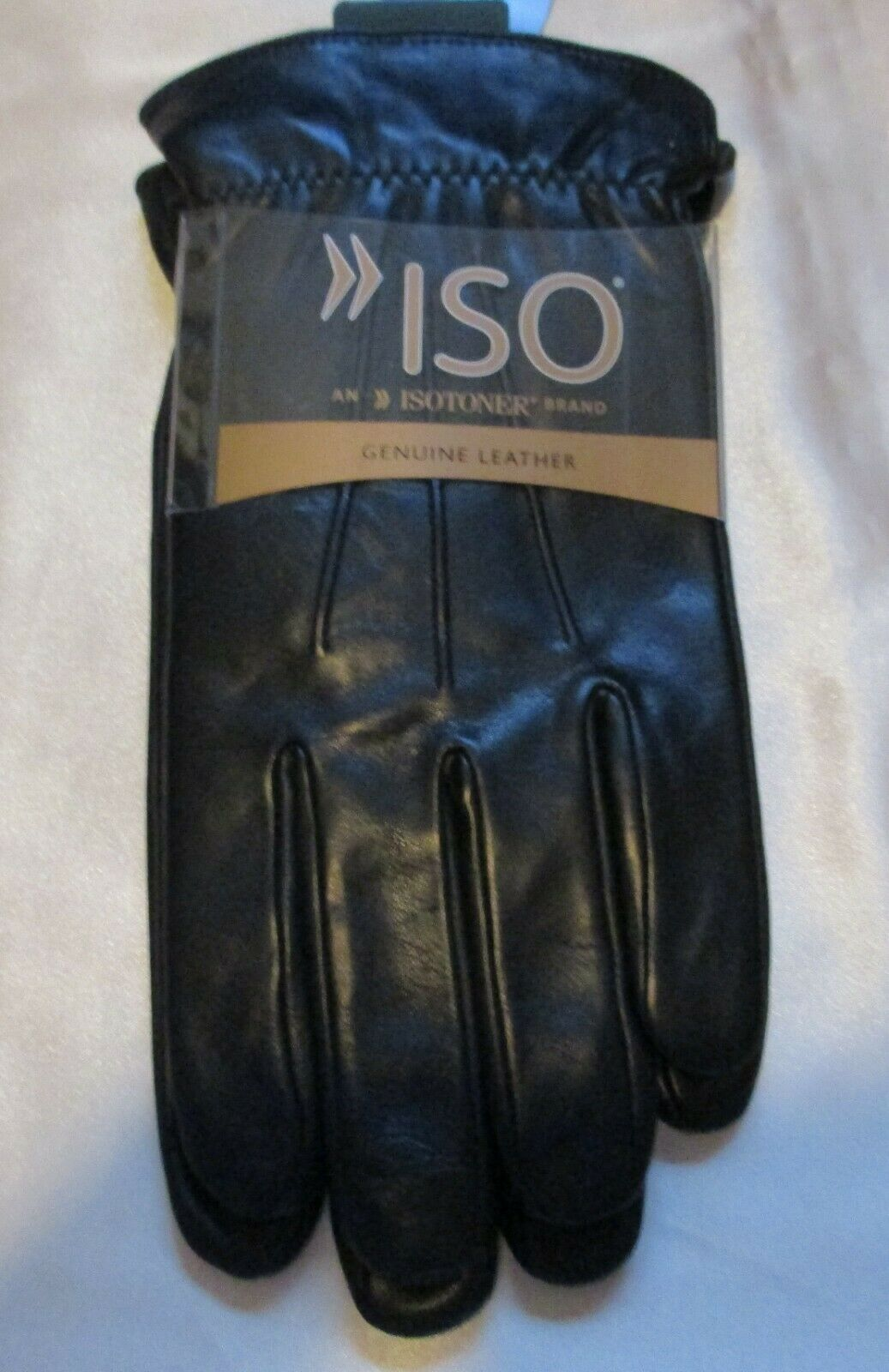 ISOTONER CLASSIC MEN'S BLACK LEATHER LINED THINSULATE GLOVES BLACK L NWT