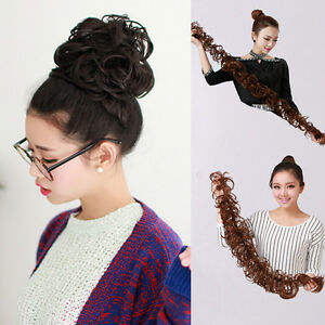 Womens long wavy curly weave hair bun synthetic ponytail hair image is loading womens long wavy curly weave hair bun synthetic pmusecretfo Image collections