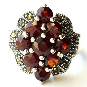 GARNET STONES RING Marcasite Studded .925 STERLING SILVER SIZE 6,7,8