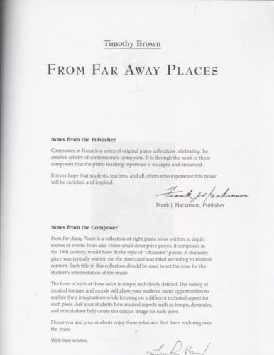 From Far Away Places Piano Solo Collection Early Intermediate Intermed Brown