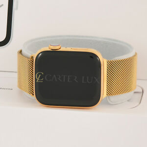 newest collection a8cee bc3b9 Details about 44mm Apple Watch Series 4 Stainless Steel Case, Custom 24K  Gold Plated, Milanese