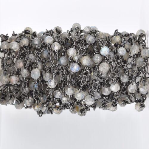 13ft LABRADORITE GEMSTONE Rosary Chain gunmetal black links 4mm round fch0683b