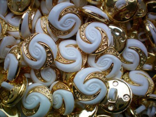 15mm 24L 18mm 28L Gold /& White Shank Dress Craft Coat Jacket Buttons P39 P40