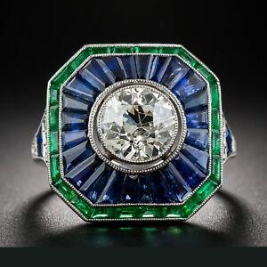 4-70Ct-Art-Deco-White-Round-Cut-Diamond-Certified-14K-White-Gold-Engagement-Ring