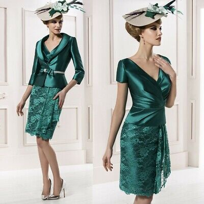 Emerald Green Knee Length Short Mother of the Bride Dress with Jacket Plus  Size | eBay