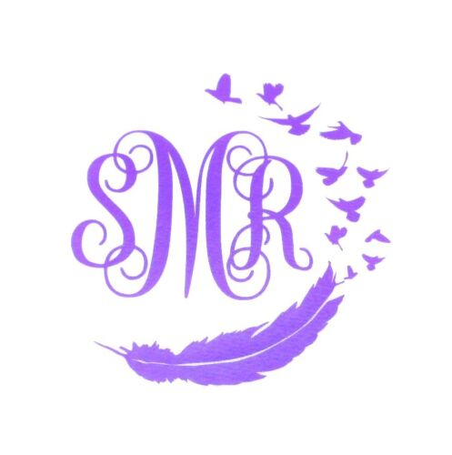 "DIY 8/"" Iron On Vinyl Script Monogram Feather and Birds You Pick Color"