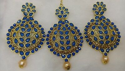 Indian Bollywood Pearl Beads Blue Maang Tikka & earring Forehead Jewelry 3pc Set