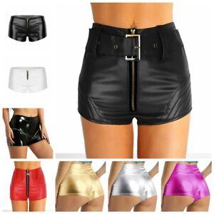 Wetlook SHORTS HOT PANTS panty Lack SPORT DANCE PARTYCLUBWEAR PANT Metallic XS-M