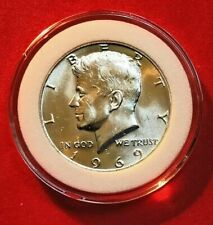 1969-D KENNEDY HALF DOLLAR 40% SILVER BU CONDITION IN COIN CAPSULE