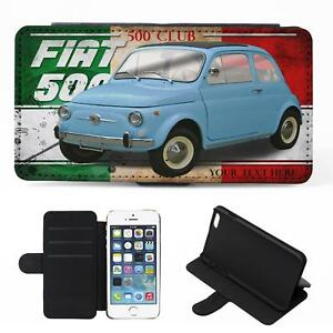 wholesale dealer 948c4 782c9 Details about Personalised Fiat 500 iPhone Flip Case Classic Car Phone  Cover CL06