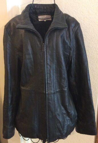 Calvin Black Women's Soft lynlås Leather Jacket Klein Medium r6U05wr8q