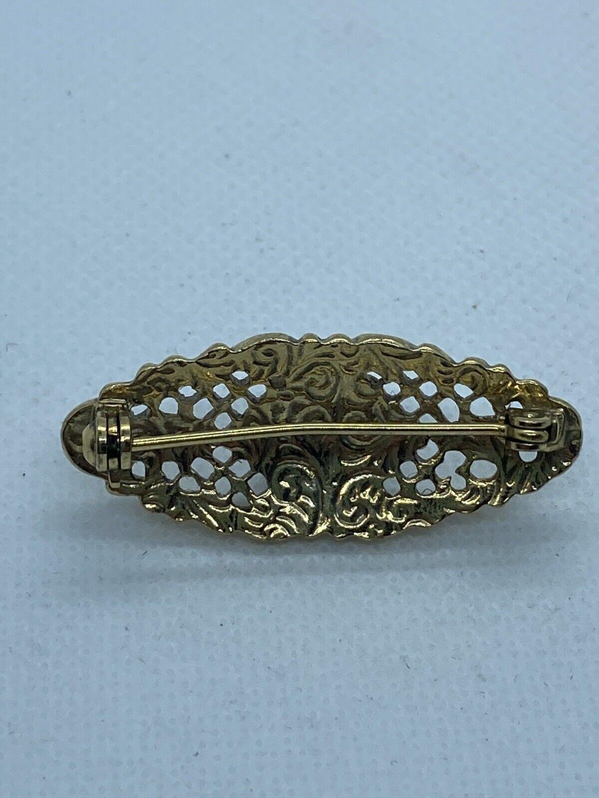 Vintage Ornate Gold Tone Lace Porcelain Rose Pear… - image 6